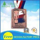Medaglia dello smalto del metallo della Factory Direct Sale Race Medal Sports Corporation con la sagola stampata calore