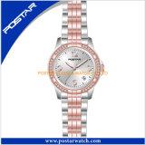 ステンレス鋼バンドが付いている流行の水晶腕時計