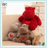 Het hete Stuk speelgoed van de Pluche Hippo van de Pluche van de Verkoop Pluizige Zachte Dierlijke met de Gift van de Valentijnskaart van het Borduurwerk van het Hart