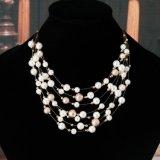 보석 금 색깔 다중층 사슬 모방은 여자를 위한 목걸이를 진주 모양이 되게 한다