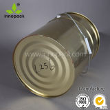 20Lふたおよびハンドルが付いている黄色い上塗を施してある金属の錫のバケツ