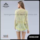 Maglione floreale di Sun del pullover di colore giallo rotondo del collo di modo