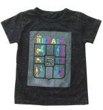 雪の綿の品質Sqt-616と着ている子供の洗浄の文字の印刷の赤ん坊の子供のTシャツ