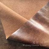 Cuoio bronzante lucido della pelle scamosciata del poliestere del tessuto per la decorazione domestica
