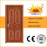 Madeira natural porta de entrada de madeira laminada do folheado (SC-W001)