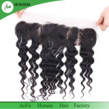 The Black Loose Curly Brazilian Virgin Human Hair Swiss Laces Frontal