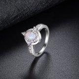 여자를 위한 형식 아연 합금 금 반지 타원형 단백석 반지 금에 의하여 도금되는 디자인