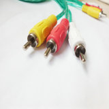 3RCA-3RCA Transparent Wire Audio Video Cable
