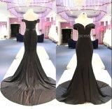 Черный атласный off плечо Русалки вечер платье Gowns Wgf139