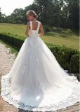 Vestidos nupciais A do laço das luvas - linha vestido de casamento feito sob encomenda inchado G17281 de Tulle