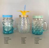 500mlパイナップルデザインカバーおよびわらが付いているガラスMansonの瓶