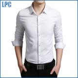 Azul de algodón para hombres de moda camisa del negocio