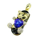 Clé de mémoire USB de bijou de l'ours USB Pendrive de coeur de diamant