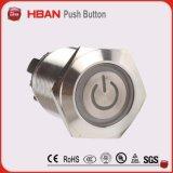 CER RoHS (19mm) Ring-Ablichtung momentaner verriegelnder industrieller Drucktastenschalter