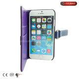 Flip hasta caja de cuero del teléfono caso del iPhone de la ranura para tarjeta del soporte