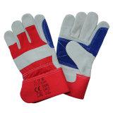 Kuh-aufgeteiltes Leder-Antiausschnitt-Arbeits-Handschuhe mit doppelter Palme