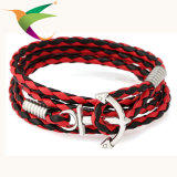 Stlb-17011008 Pulsera de cuerda de cuero tejida a mano con cuerda de mano ajustable de múltiples capas