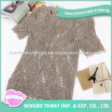 Senhora longa Hand Knitted Camisola do melhor algodão de lã
