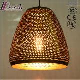 Ronda de moda de ouro pingente oco de luz com sala de jantar
