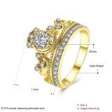 Modèle plaqué par or rond en alliage de zinc de bague de Zircon de boucle d'or de mode pour des femmes