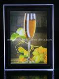 Scatola chiara chiara del LED della cornice di fotographia di cristallo per la barra della bevanda Billboard pubblicitario acrilico