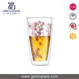 絶妙で高いホウケイ酸塩の倍の壁のステッカーの花が付いているガラスティーカップ