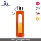 570ml de aangepaste Fles van de Sport van het Glas van Borosilicate van de Ring van het Silicone van de Kleur