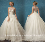 Отбортовывать платье венчания W201756 Bridal шнурка мантий шарика тучное