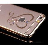 두 배 린 소형 사랑 심혼 반짝임 모조 다이아몬드 다이아몬드는 iPhone 5s를 위한 고무 도금 프레임 TPU 덮개를 지운다