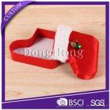 リボンが付いている丸型のクリスマスのギフトの紙箱をカスタム設計しなさい