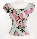 Самые последние конструкции рубашки для верхней части урожая женщины печатание тенниски женщин изготовленный на заказ с плеча