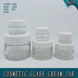 Vaso crema di vetro della radura differente di formato per cura di pelle