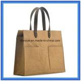 Diseño simple Nuevo material Bolsa de mano de papel de DuPont, respetuoso del medio ambiente Personalizada portátil Tyvek manija de papel llevar bolsa de la compra con la manija de cuero de la PU