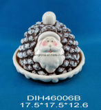 Покрашенный вручную керамическая коробка хлеба Санта