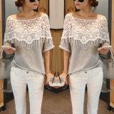 Parti superiori casuali di estate della maglietta della camicia del manicotto di Short della camicetta del merletto del cotone