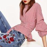 Calças de bordado de cintura média de moda Ladies Fashion