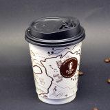 De douane drukte de Beschikbare eco-Vriend Dubbele Koppen van het Document van de Koffie van de Muur Hete af