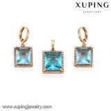 64144 Conjunto de joyas de moda de oro plateado Plaza de la Mujer de la CZ