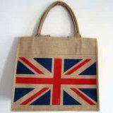 Le sac à provisions respectueux de l'environnement de jute, avec conçoivent et classent en fonction du client