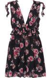 Горячее Ruffled сбывание 2017 Флористическ-Печатает Шелк-Шифоновое миниое платье для женщин