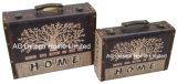 S/2 de Decoratieve Antieke Uitstekende Doos van de Koffer van de Opslag van de Druk Pu Leather/MDF van het Ontwerp van de Boom Houten