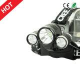 도 조정가능한 가장 새로운 작풍 크리 사람 T6+2r2 LED Headlamp 4 최빈값 90 헤드를 위해