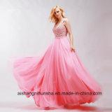 Reizvoller V-Stutzen elegantes Tulle mit dem Bördeln von A - Zeile Sleeveless Abschlussball-Kleid
