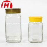 De vierkante Kruik van de Honing van het Glas van de Jampot van het Glas met het Deksel van de Schroef