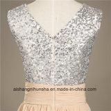 FrauenChiffon- Sequin V-Stutzen reizvolles Backless Abend-Partei-Abschlussball-Kleid