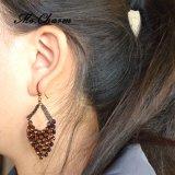 포도 수확 형식 보석 주황색 모조 다이아몬드 검정 사슬 하락 귀걸이