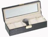 Cadre de mémoire en cuir d'étalage de boîtier de montre pour la montre de luxe de type de mode européenne en céramique de montre (Lrw246)