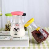 Vaso dell'alimento di immagazzinamento in la bottiglia della spremuta della bottiglia di vetro del latte con la decalcomania