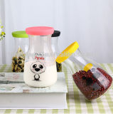 Botella de vidrio de leche botella de jugo Botella de comida de almacenamiento con etiqueta