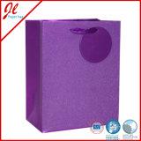 Sacos de papel luxuosos do presente do Glitter cor-de-rosa com Glister e Tag